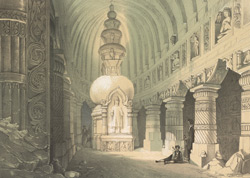Ajunta. Interior of Chaitya Cave No 19
